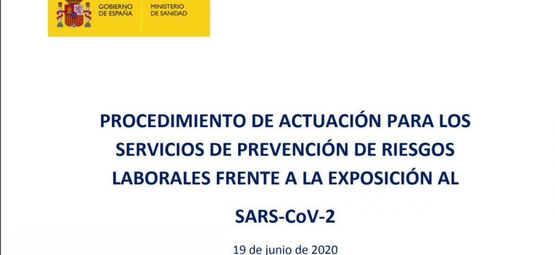 COVID-19. Actualización del procedimiento de actuación para los servicios de prevención de riesgos laborales frente a la exposición al Coronavirus